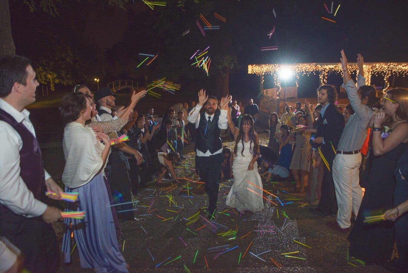 Wedding Exit using glowsticks