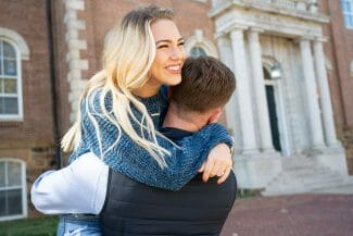 engagement photos in front of Old Main
