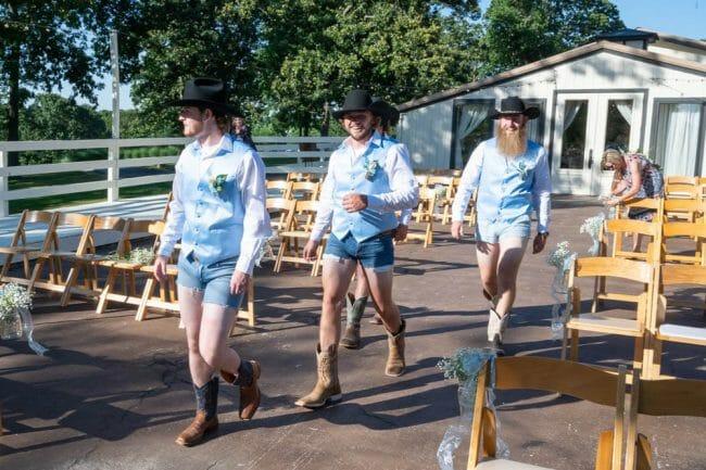 groomsmen wearing short shorts