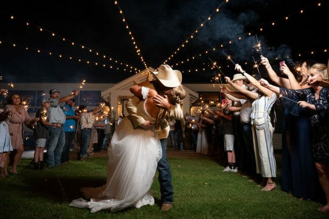 sparkler exit at Barn at the springs