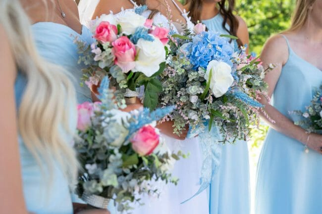 wedding flowers with light blue and light pink