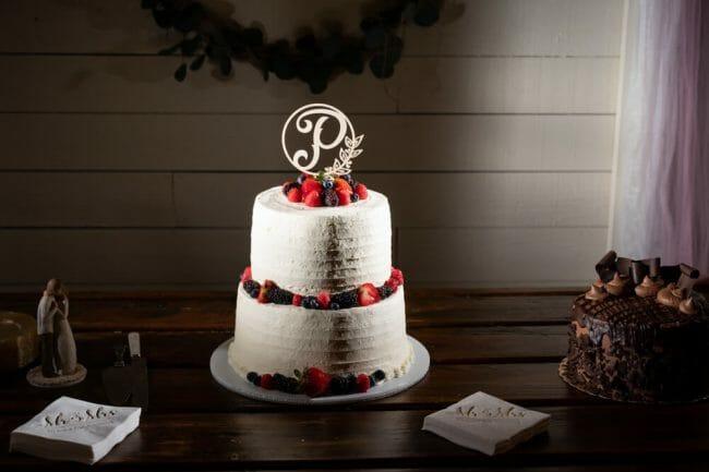 custom white wedding cake from local baker