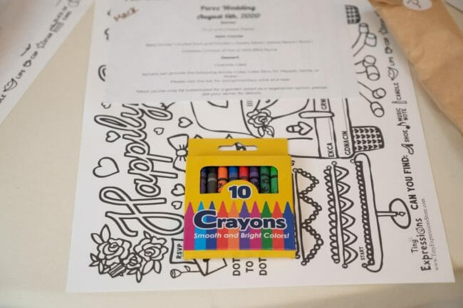 color book for kids at the wedding