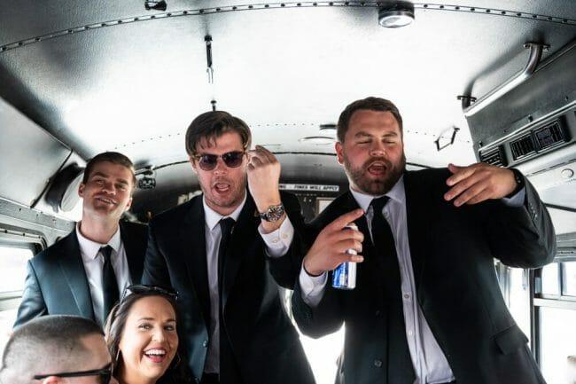 groomsmen on party bus