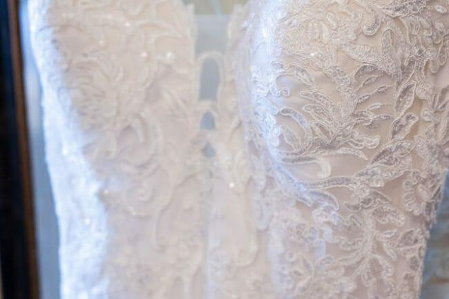 close up of details on wedding dress