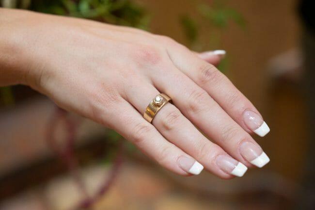 bride wearing grandmother's ring