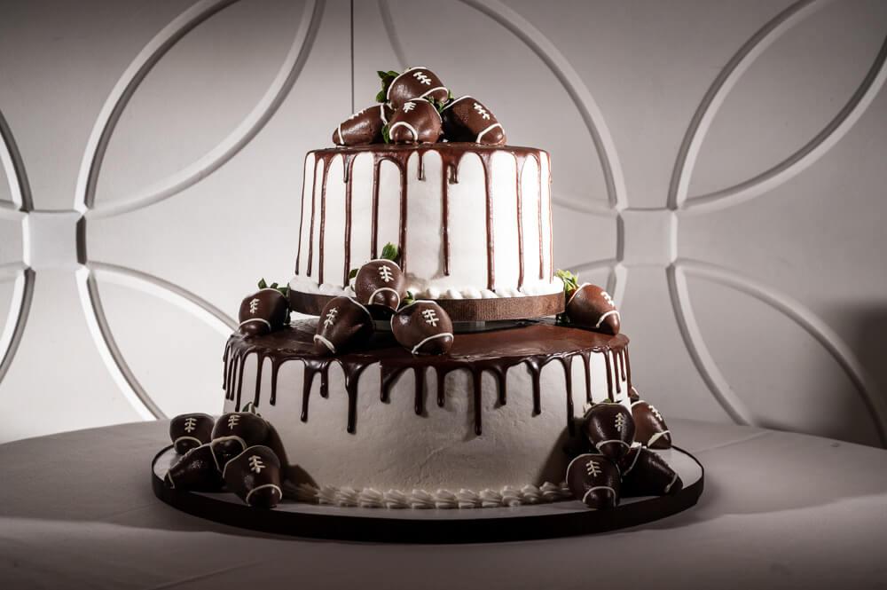 wedding cake with footballs