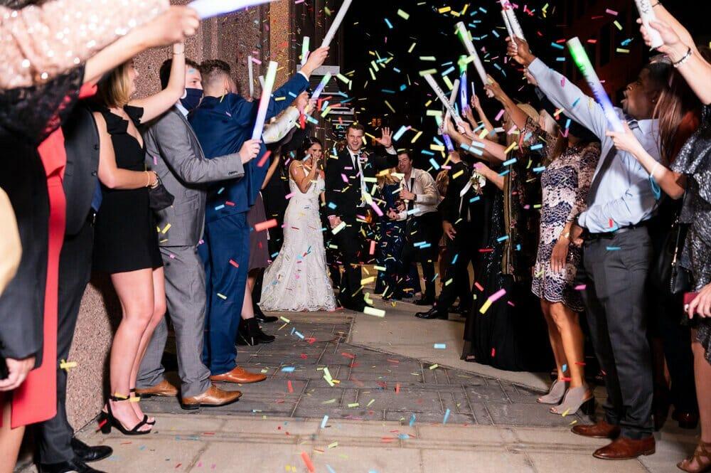 confetti exit at wedding in Kansas City