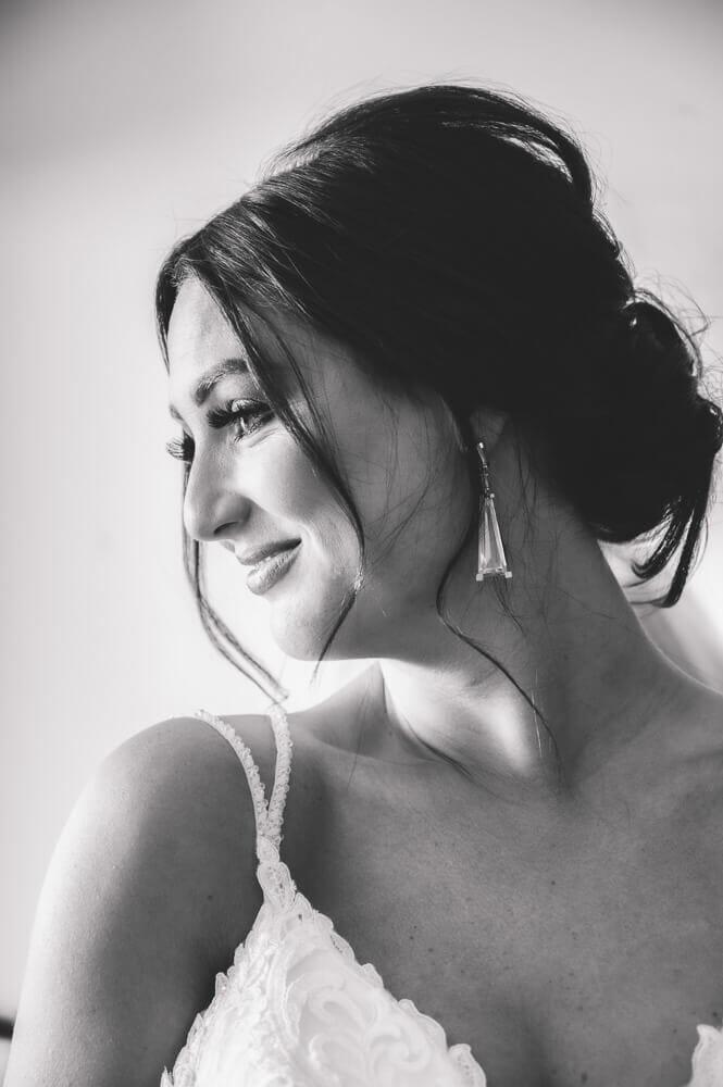bride smiling black and white
