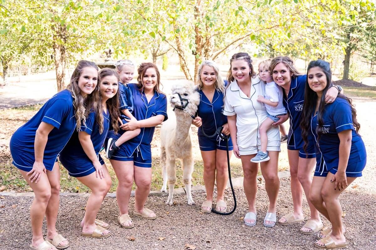 girls with llama on wedding
